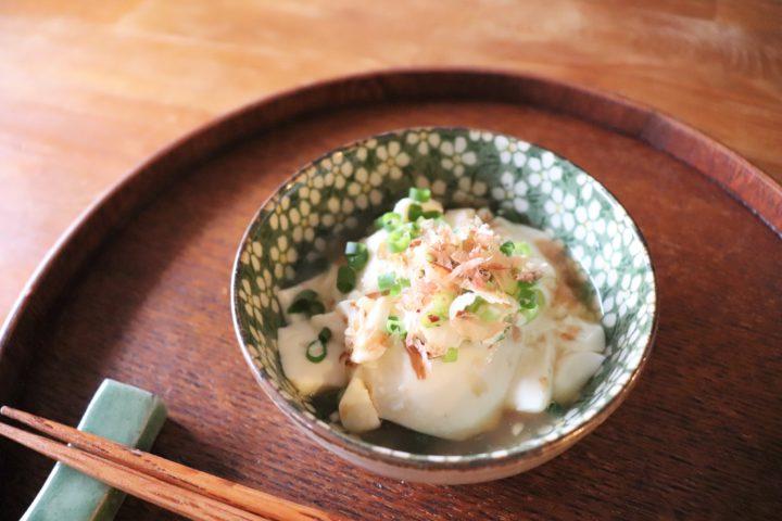 豆腐の盛り付け方湯豆腐風